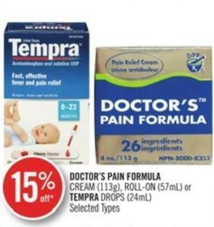 Doctor's Pain Formula Cream (113g) - Roll-on (57ml) or Tempra Drops (24ml)