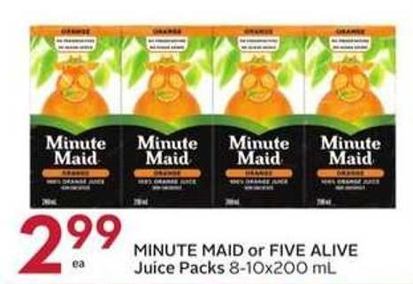 Minute Maid or Five Alive Juice Packs