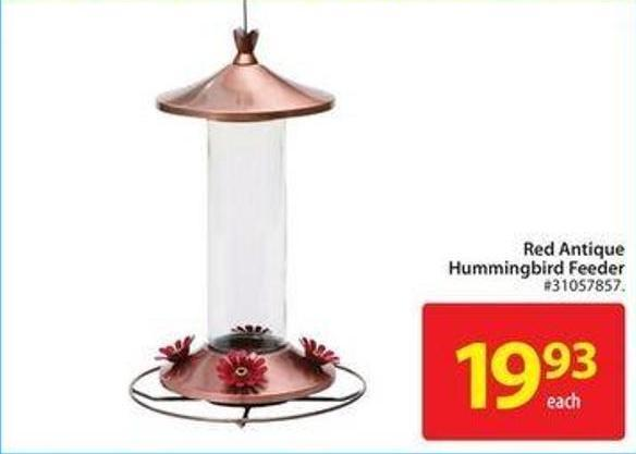 Red Antique Humming Bird Feeder