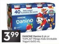 Danone Danino 8 Pk or Yoplait Minigo Kids Drinkable Yogurt 6x93 mL
