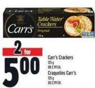 Carr's Crackers 125 g Or 2.99 Ea.