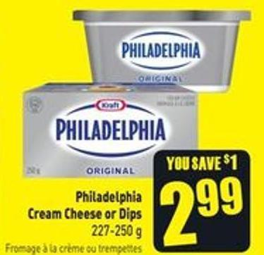 Philadelphia Cream Cheese or Dips 227-250 g