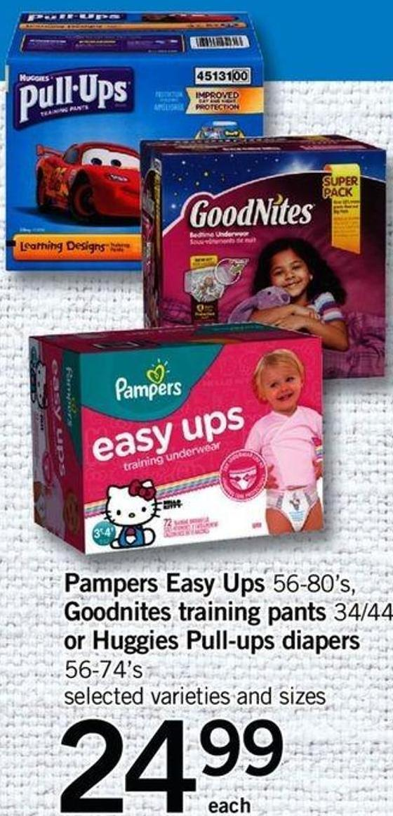 Pampers Easy Ups - 56-80's - Goodnites Training Pants - 34/44's Or Huggies Pull-ups Diapers - 56-74's