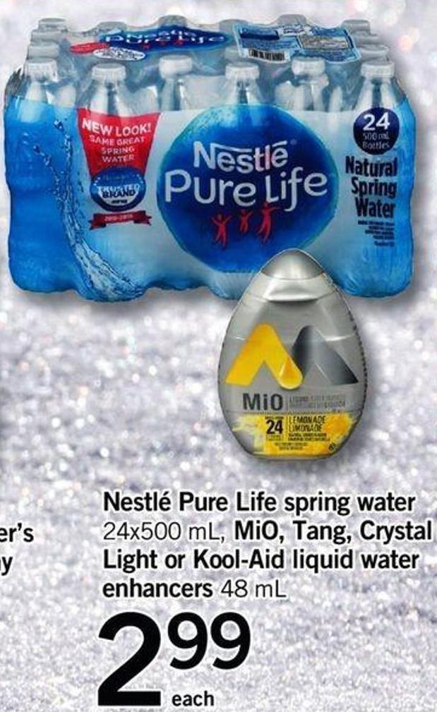 Nestlé Pure Life Spring Water - 24x500 Ml Mio - Tang - Crystal Light Or Kool-aid Liquid Water Enhancers - 48 Ml