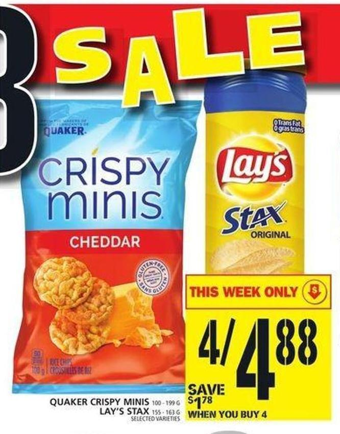 Quaker Crispy Minis Or Lay's Stax