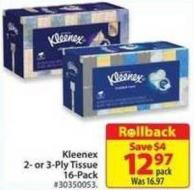 Kleenex 2-or 3-ply Tissue 16-pack