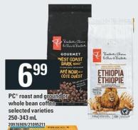 PC Roast And Ground Or Whole Bean Coffee - 250-343 mL