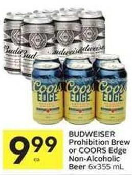 Budweiser Prohibition Brew or Coors Edge Non-alcoholic Beer