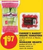 Farmer's Market Grape Tomatoes - Pint Or Romaine Hearts - 2's