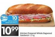 Kitchen Prepared Whole Dagwood Sandwich - 10 Air Miles Bonus Miles
