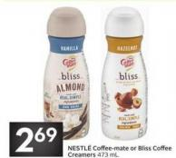 Nestlé Coffee-mate or Bliss Coffee Creamers