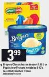 Breyers Classic Frozen Dessert - 1.66 L Or Popsicle Or Fruttare Novelties - 6-12's