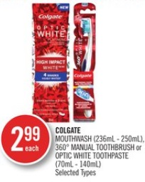 Colgate Mouthwash (236ml - 250ml) - 360° Manual Toothbrush or Optic White Toothpaste (70ml - 140ml)