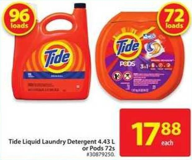 Tide Liquid Laundry Detergent 4.43 L Or Pods 72s