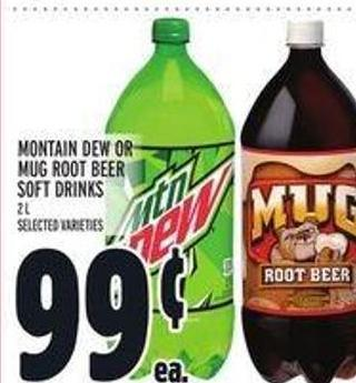 Montain Dew Or Mug Root Beer Soft Drinks