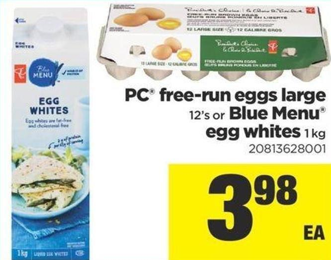 PC Free Run Eggs Large - 12's or Blue Menu Egg Whites - 1 Kg