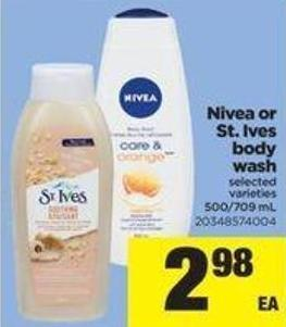 Nivea Or St. Ives Body Wash - 500/709 mL