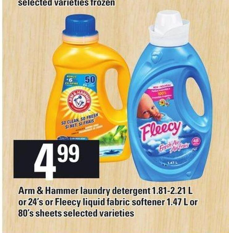 Arm & Hammer Laundry Detergent 1.81-2.21 L Or 24's Or Fleecy Liquid Fabric Softener 1.47 L Or 80's Sheets