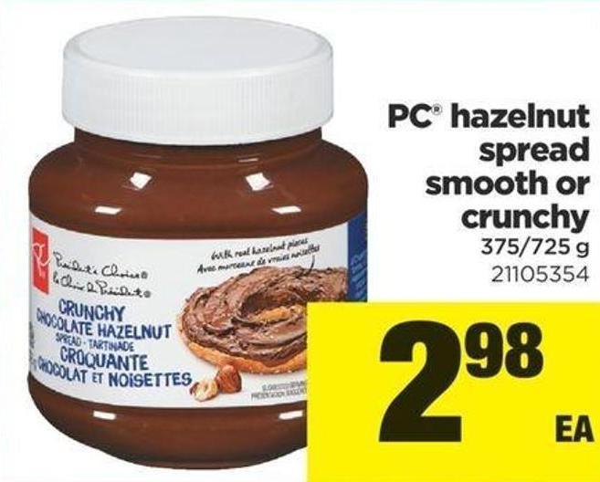 PC Hazelnut Spread Smooth Or Crunchy - 375/725 g