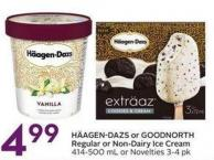 Häagen-dazs or Goodnorth Regular or Non-dairy Ice Cream 414-500 mL or Novelties 3-4 Pk