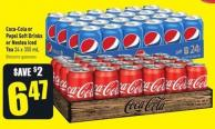 Coca-cola or Pepsi Soft Drinks or Nestea Iced Tea 24 X 355 mL