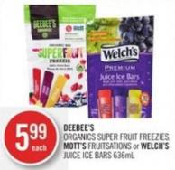 Deebee's Organics Super Fruit Freezies - Mott's Fruitsations or Welch's Juice Ice Bars 636ml