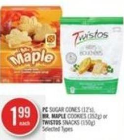 PC Sugar Cones (12's) - Mr. Maple Cookies (352g) or Twistos Snacks (150g)