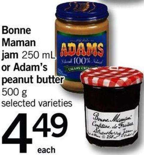 Bonne Maman Jam - 250 Ml Or Adam's Peanut Butter - 500 G