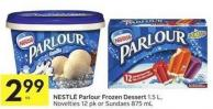 Nestlé Parlour Frozen Dessert 1.5 L - Novelties 12 Pk or Sundaes 875 mL