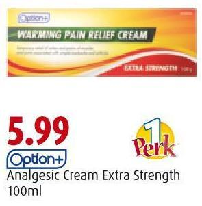 Option+ Analgesic Cream Extra Strength 100ml