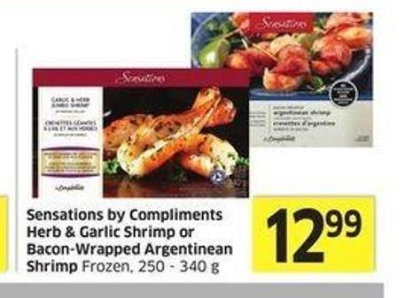 Sensations By Compliments Herb & Garlic Shrimp or Bacon-wrapped Argentinean Shrimp Frozen -