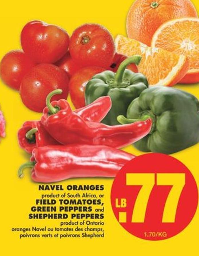 Navel Oranges or Field Tomatoes - Green Peppers And Shepherd Peppers