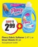 Fleecy Fabric Softener 1.47 L or Dryer Sheets 80 Pk