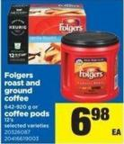 Folgers Roast And Ground Coffee 642-920 G Or Coffee PODS 12's