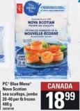 PC Blue Menu Nova Scotian Sea Scallops Jumbo - 20-40 Per Lb - Frozen - 400 G