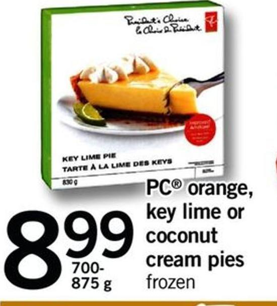 PC Orange - Key Lime Or Coconut Cream Pies - 700- 875 G