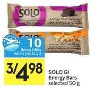 Solo Gi Energy Bars Selected 50 g - 10 Air Miles Bonus Miles