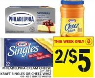 Philadelphia Cream Cheese 227 - 250 G Or Kraft Singles Or Cheez Whiz 410 - 450 G