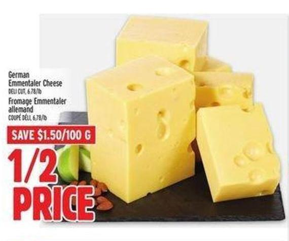 German Emmentaler Cheese1/2 Price. Save