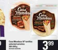 Casa Mendosa 10in Tortillas - 384/640 G