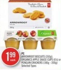 PC Arrowroot Biscuits (350g) - Organics Apple Sauce Cups (6's) or Penguin Crackers (180g - 200g)