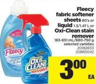 Fleecy Fabric Softener Sheets - 80's Or Liquid - 1.3/1.47 L Or Oxi-clean Stain Remover - 183-651 Ml/680-750 G