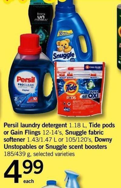 Persil Laundry Detergent - 1.18 L - Tide PODS Or Gain Flings - 12-14's - Snuggle Fabric Softener - 1.43/1.47 L Or 105/120's - Downy Unstopables Or Snuggle Scent Boosters - 185/439 G