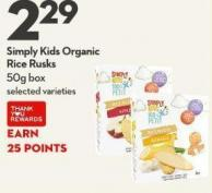 Simply Kids Organic  Rice Rusks 50g Box