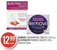 Hemovel Hemorrhoid Tablets (18's) or Electrolyte Powder Sachets (8's)