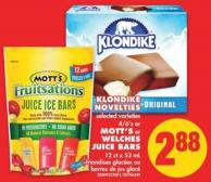Klondike Novelties - 4/6's Or Mott's Or Welches Juice Bars - 12 Ct X 53 mL