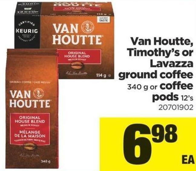 Van Houtte - Timothy's Or Lavazza Ground Coffee - 340 g or Coffee PODS - 12's