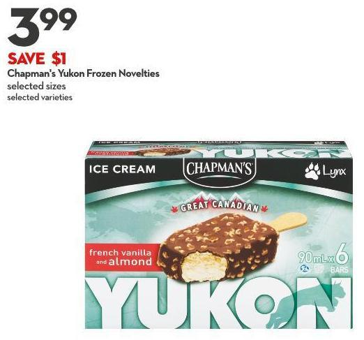 Chapman's Yukon Frozen Novelties Selected Sizes