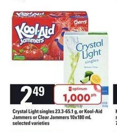 Crystal Light Singles - 23.3-65.1 g - or Kool-aid Jammers or Clear Jammers - 10x180 mL