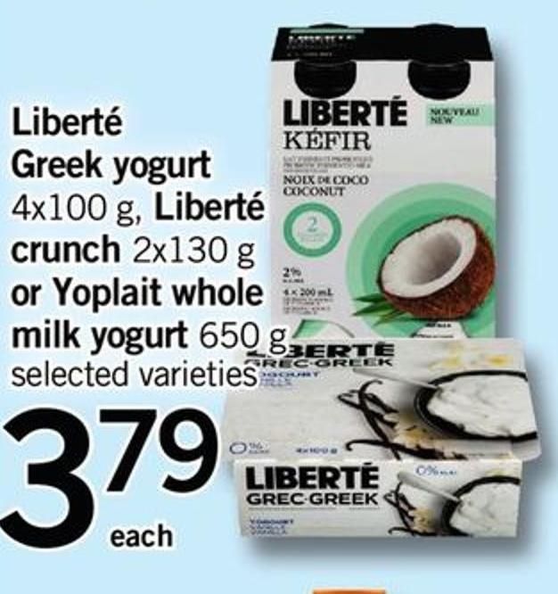 Greek Yogurt - 4x100 G - Liberté Crunch - 2x130 G Or Yoplait Whole Milk Yogurt - 650 G